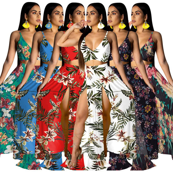 Floral Beach Backless Spaghetti Straps Crop Top Set