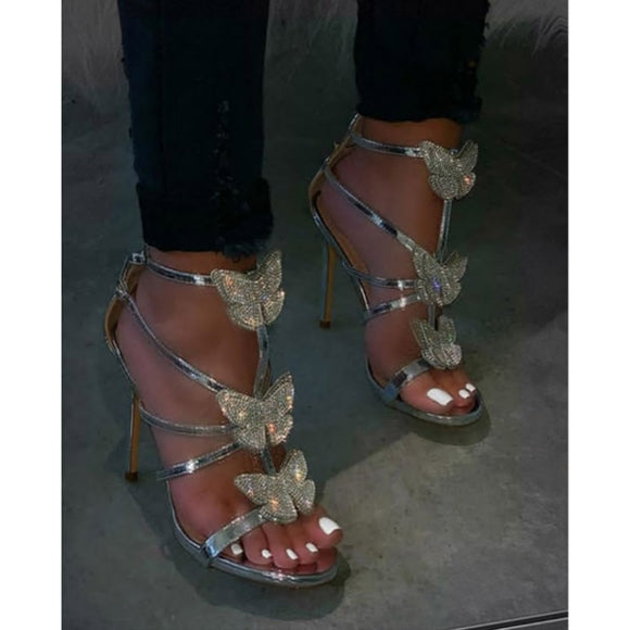 Rhinestone Bow Hollow Roman Sandals - Dominick's Boutique