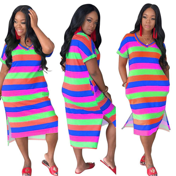 Esha Rainbow  Midi Dress - Dominick's Boutique