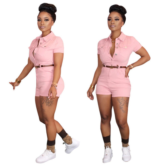 Fashion nova Turn Down Collar Short Sleeve Shorts Sexy Romper