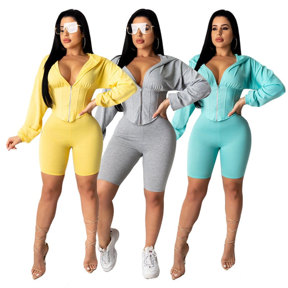 Iliza Zipper Long Sleeve Hooded Crop Top Shorts Suits