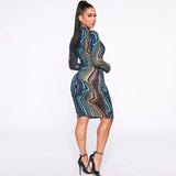 (Wholesale Quantity 5+ Pack WSDS) sexy wave Bodycon Midi dress