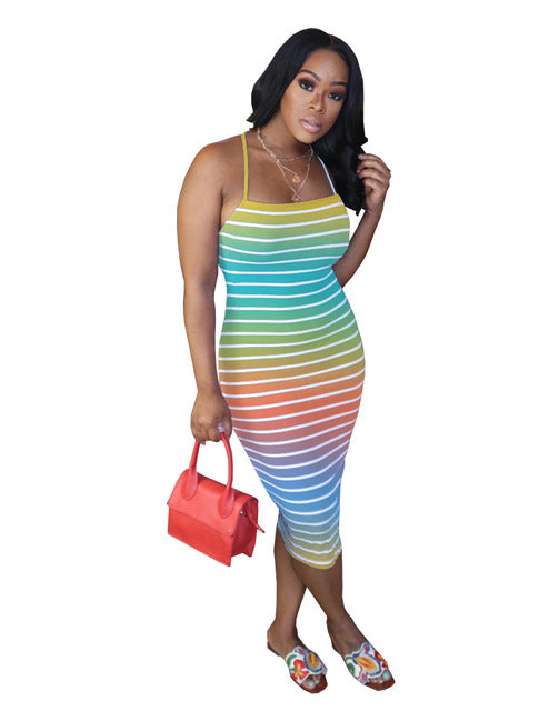 (Wholesale Quantity 5+ WSDS) Sleeveless Striped Party Night Club Dresses