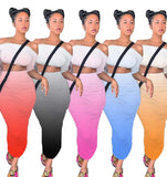 (Wholesale 5+ Pack WSDS) Sexy Gradient Off Shoulder Crop Top Stacked Maxi Skirt Suit