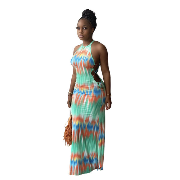 (Wholesale Quantity 5+ WSDS) Tie Dye Wave Halter Neck Open Back Midi Long Dress