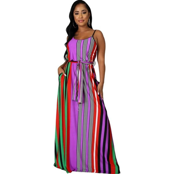 Striped Print Maxi Dress Spaghetti Straps