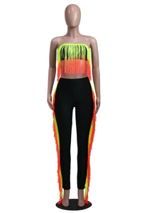 Sexy Women Gradient Tassel Tracksuit Two Piece Set