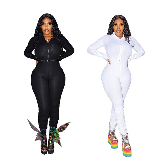 Ribbed Ruched Jumpsuit Zipper V Neck Long Catsuit