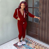 hooded jackets pencil long pants two pieces sets