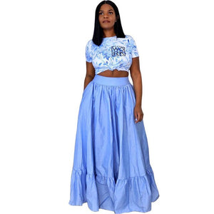 (Wholesale Pack 5+ WSDS) Tie Dye Tee Tops Swing Maxi Skirts Set