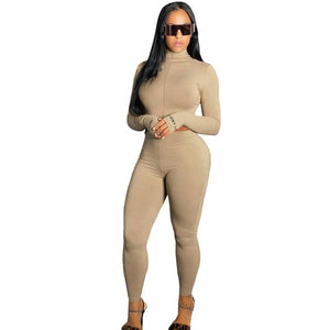 Ribbed Turtleneck Long Sleeve Crop Top Pencil Pants Set
