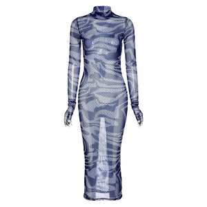 (Wholesale Quantity 5+ WSDS) Sexy Party Club Night Gauze Geometric Midi Dresses