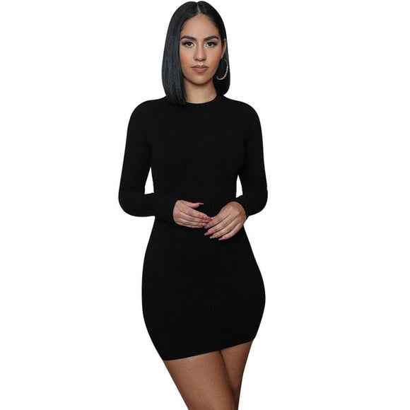 (Wholesale Quantity 5+ WSDS) Ribbed Knitted Long Sleeve Midi Dress
