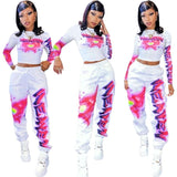 Long Sleeve Crop Top Drawstring Pants Tracksuit Outdoor Clothing Fall Outfits