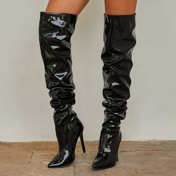 Over The Knee Patent Leather  High Heels Boots
