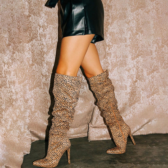 Sexy High Thin Heel Zip Knee Suede Leopard Boots