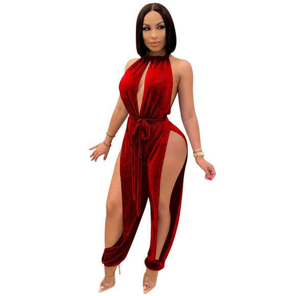 High Slit Jumpsuit Sexy Club Party One Piece Halter