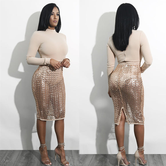 Cora 2 Piece Set Sexy Sequin Dress