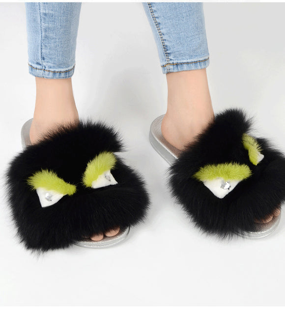 Carrie Fur Beach Slippers Flip Flops - Dominick's Boutique