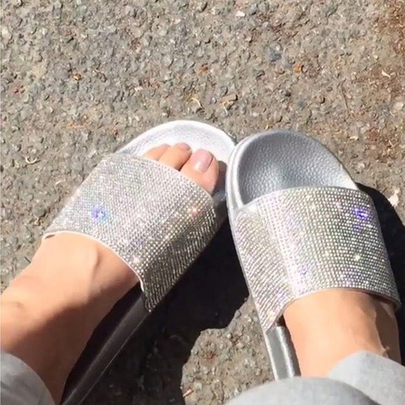 Rhinestone Slippers Flip Flops - Dominick's Boutique