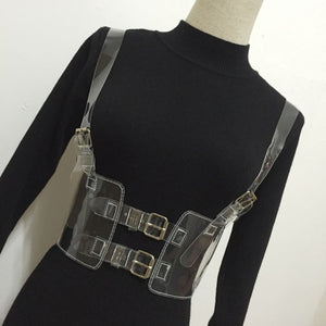 Punk Slimming Holographic Choker Bra Top Harness - Dominick's Boutique