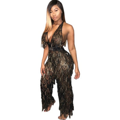 Maya Sequin Sheer Mesh Sexy Jumpsuit - Dominick's Boutique