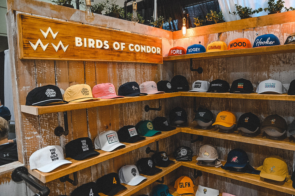 check out the new hat range and apparel by birds of condor from the 2020 pga golf show in Orlando Florida