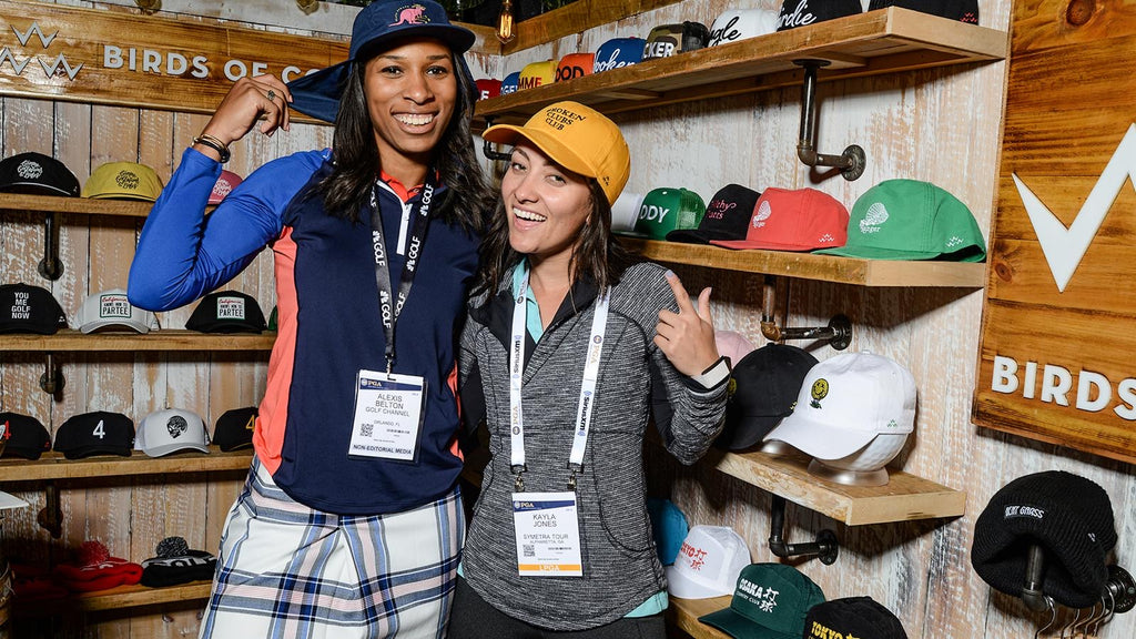 Golf babes having fun with new hats from birds of condor at the PGA Show Orlando 2020