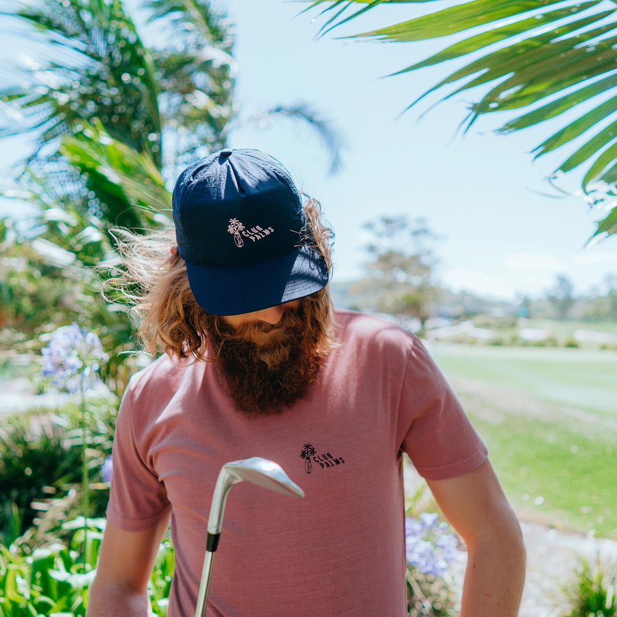 birds-of-condor-navy-blue-golf-club-palms-nylon-summer-cap-hat-front