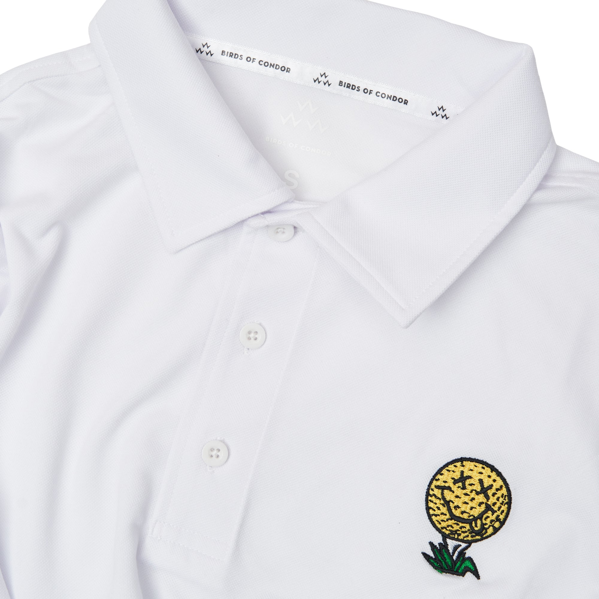 white-polo-golf-shirt-ball-tee-sport-birds-of-condor