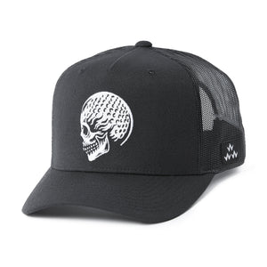 birds-of-condor-black-golf-ball-skulled-trucker-hat-cap-front