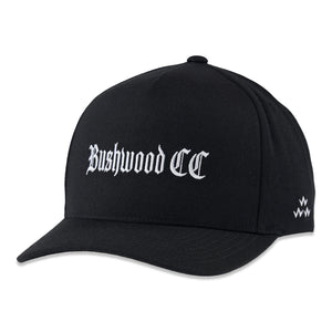 birds-of-condor-black-bushwood-country-golf-club-snapback-hat-front
