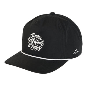 birds-of-condor-black-golf-gimme-waves-babes-nylon-summer-cap-hat-front