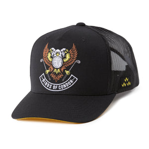 birds-of-condor-black-golf-triple-eagle-trucker-hat-cap-front