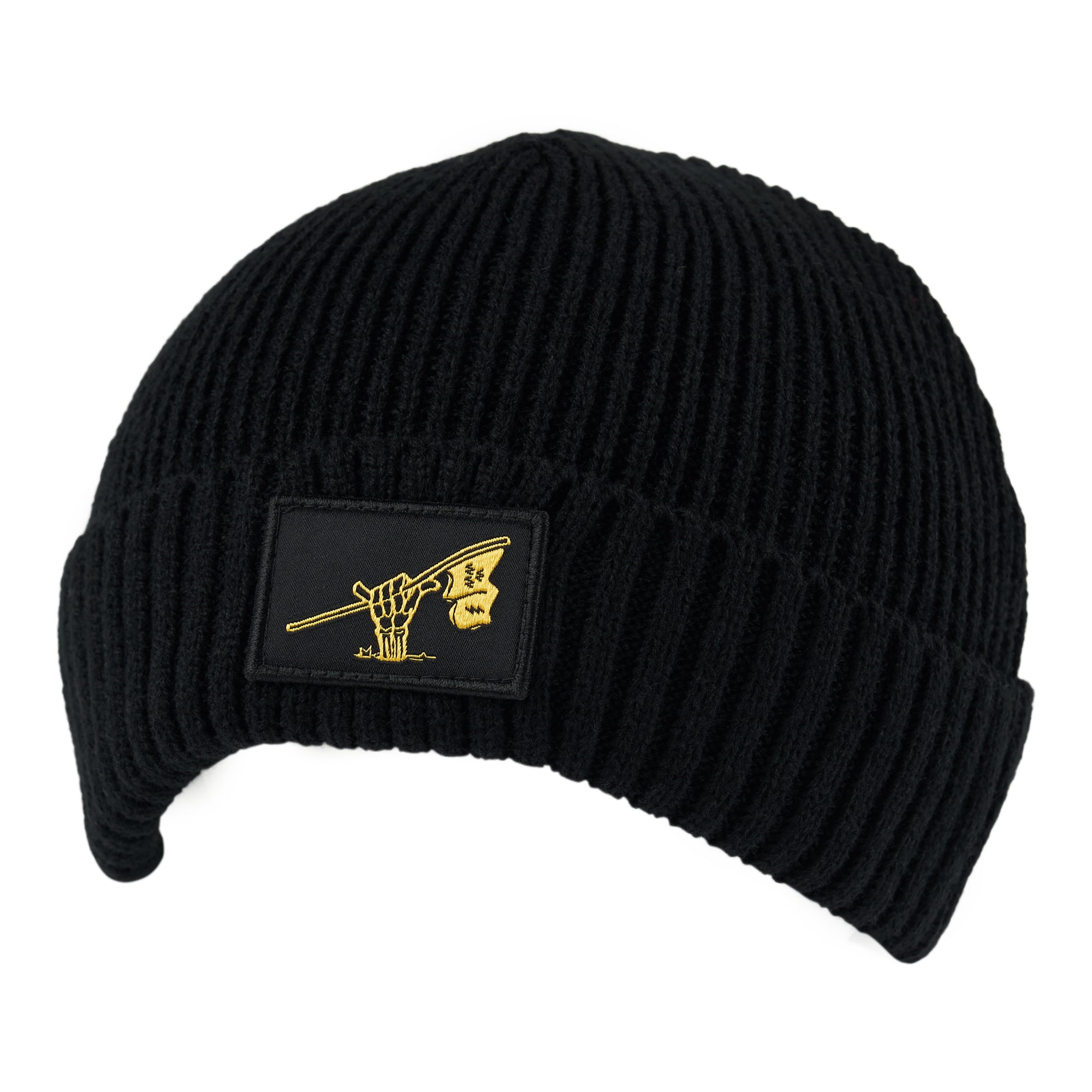 birds-of-condor-electric-black-beanie-flag-raiders-golf-hat-front