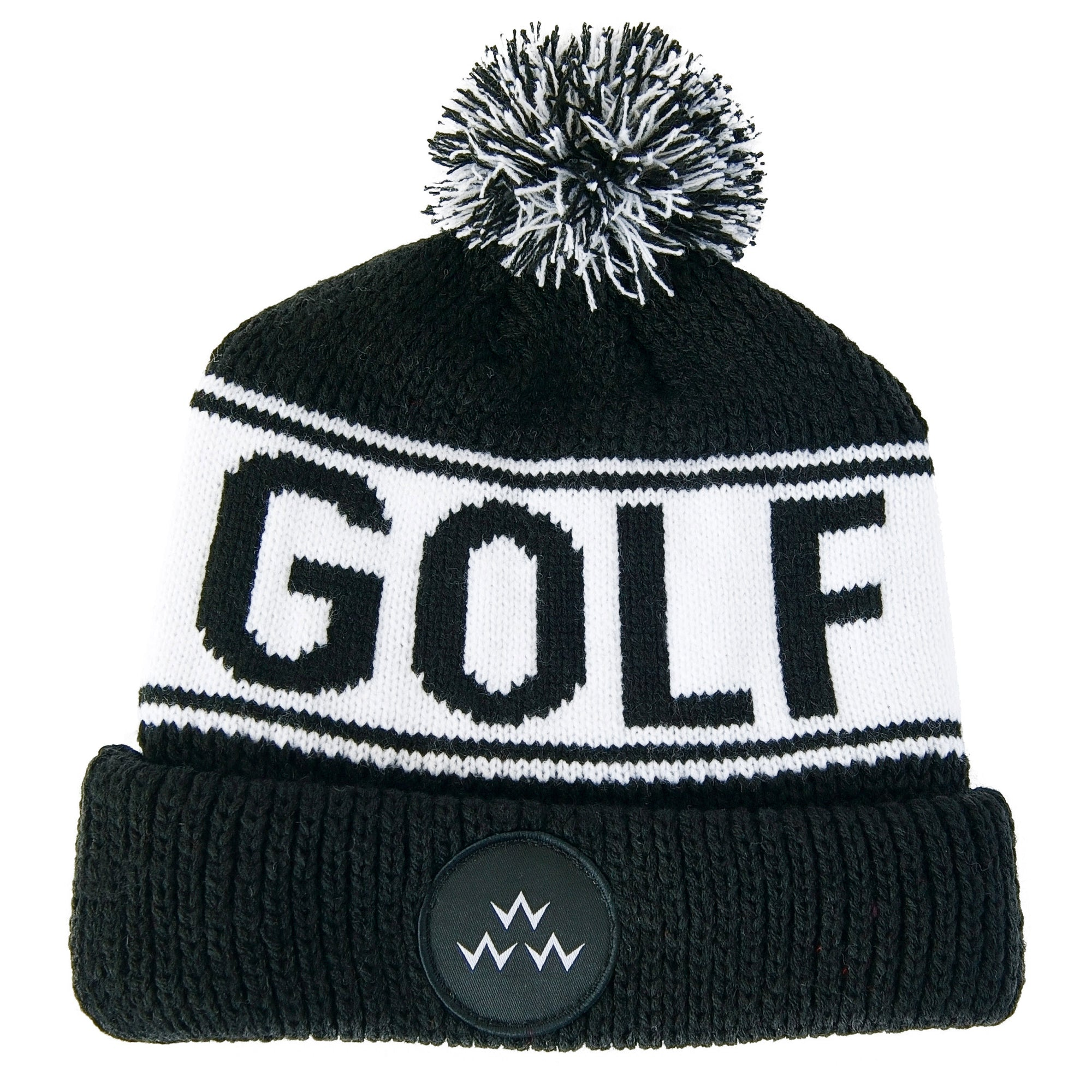 birds-of-condor-black-golf-beanie-hat-front