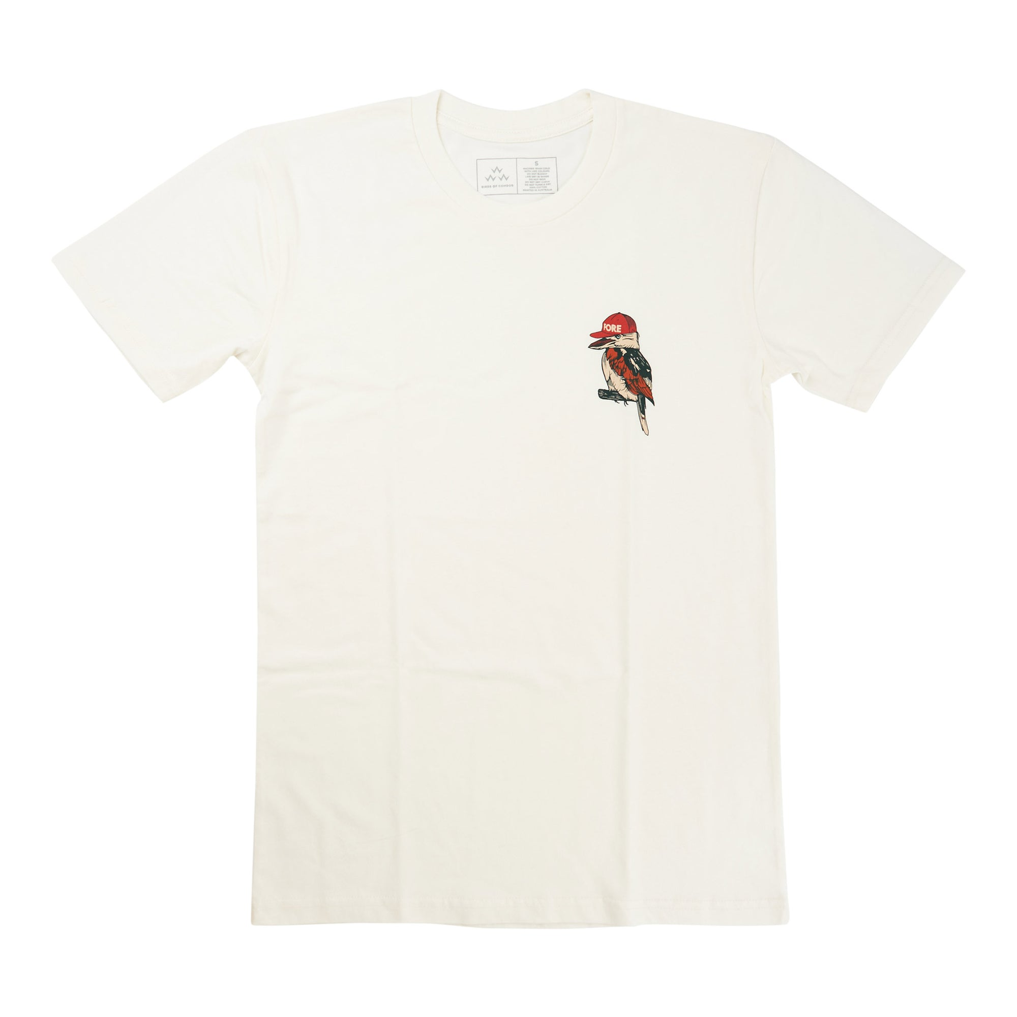 birds-of-condor-natural-white-golf-tee-shirt-kooka-kookaburra-front