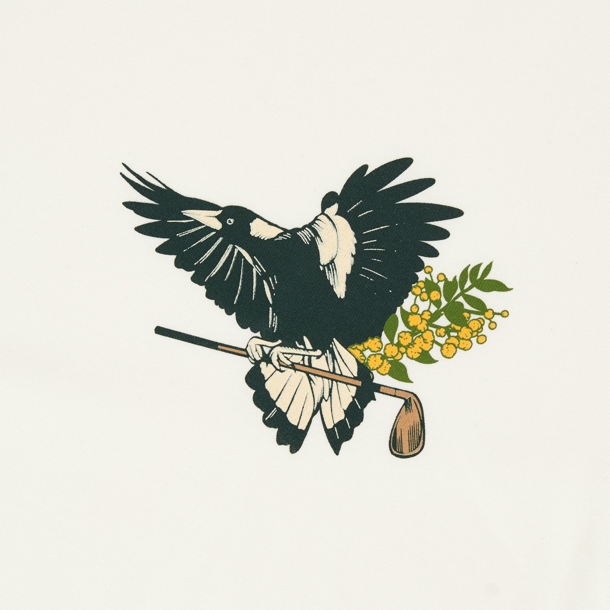 birds-of-condor-natural-white-golf-tee-shirt-maggie-magpie-front