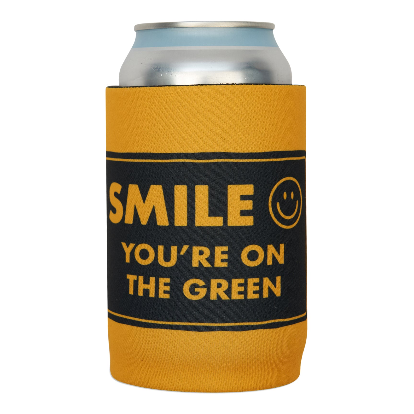 birds-of-condor-smile-golf-green-beer-cooler-koozie-front