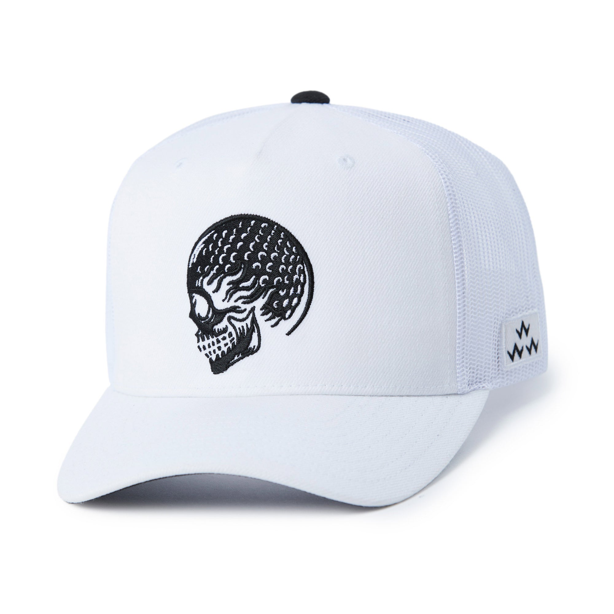 birds-of-condor-white-golf-ball-skulled-trucker-hat-cap-front