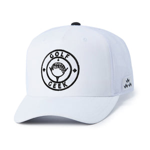 birds-of-condor-white-golf-geek-trucker-hat-cap-front