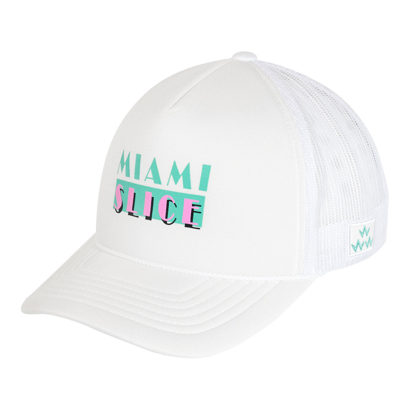 birds-of-condor-white-golf-miami-slice-trucker-hat-cap-front