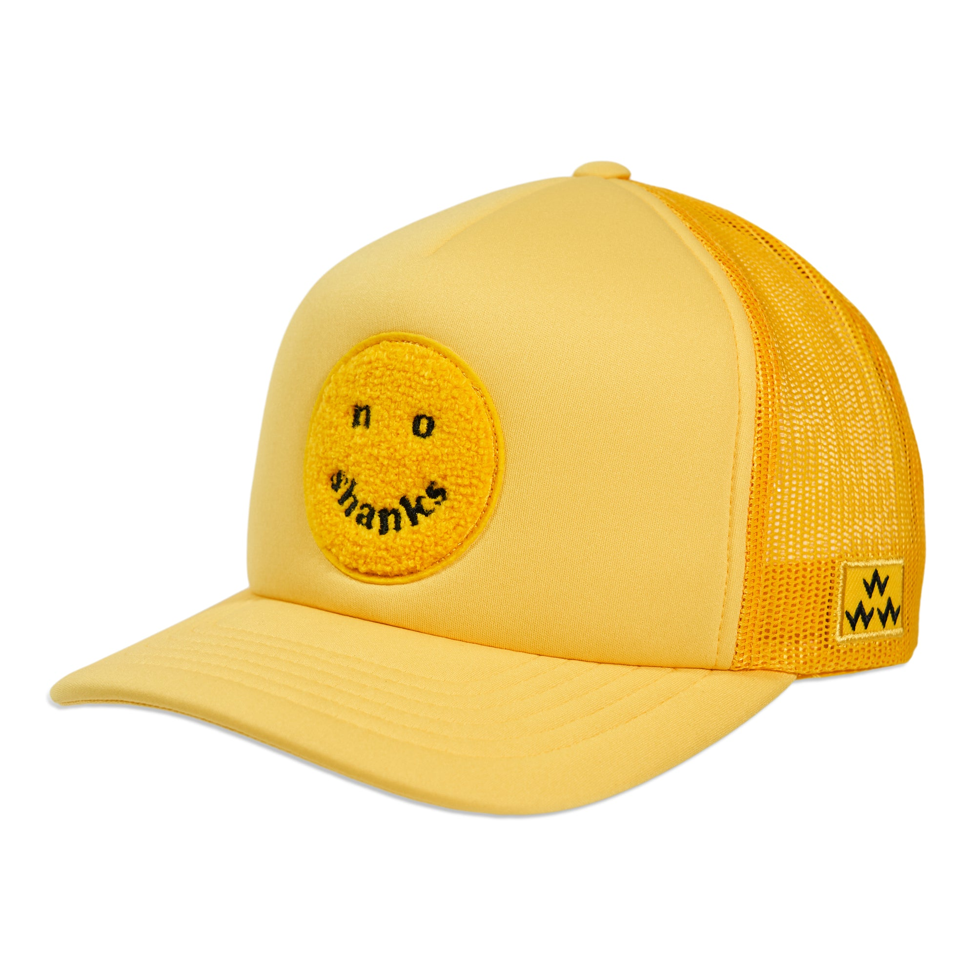 birds-of-condor-yellow-no-shanks-trucker-mesh-golf-hat-cap-front