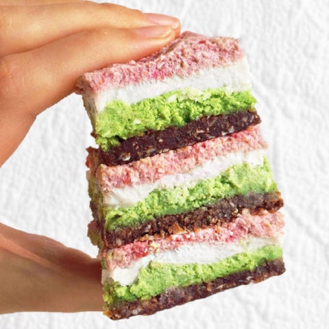 Raw Strawberry Matcha Bars