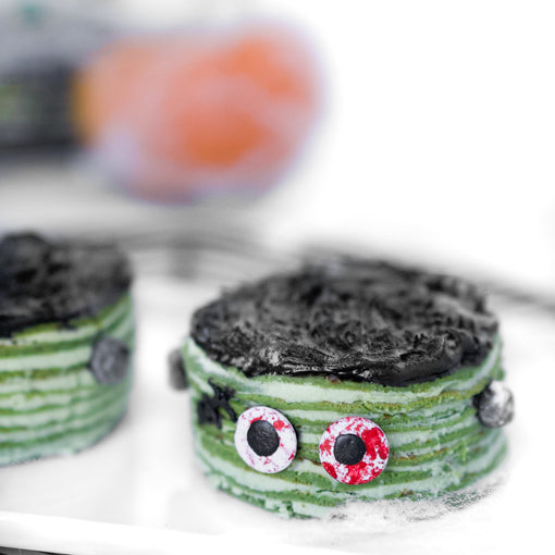 Halloween Recipe: Mini Mille Matcha Frankenstein Crepe Cakes