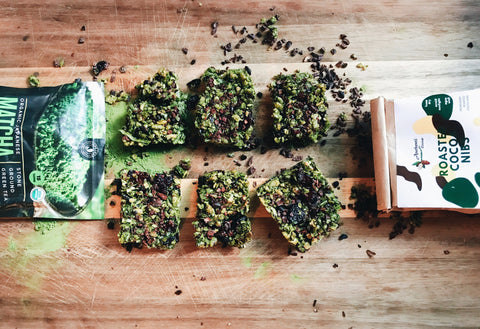 Matcha And Cocoa Nib Granola Bars