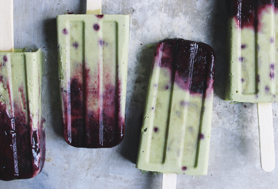 Roasted Blueberries and Cream Matcha Popsicles