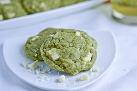 White Chocolate Matcha Green Tea Cookies