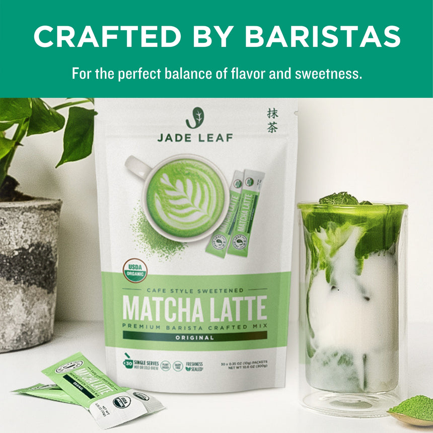 Cafe Style Matcha Latte Mix - Original - Stick Packs - 10 Count - 30 Count - 100 Count - Crafted