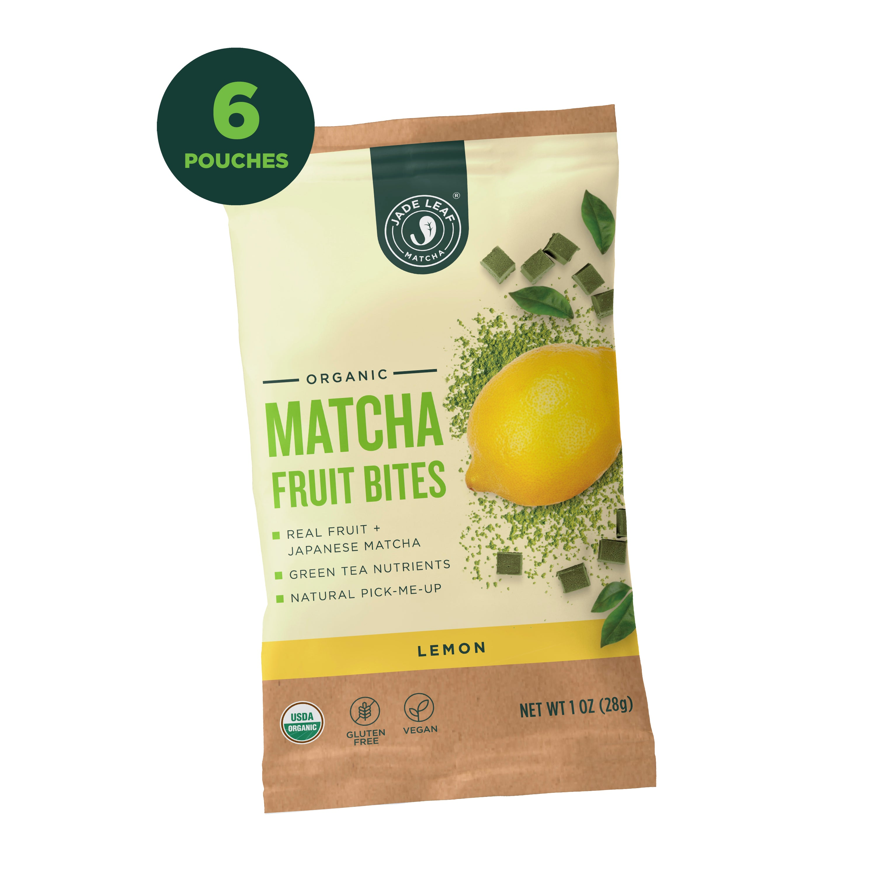 Matcha Fruit Bites - Lemon - 6 Pouches - Hero